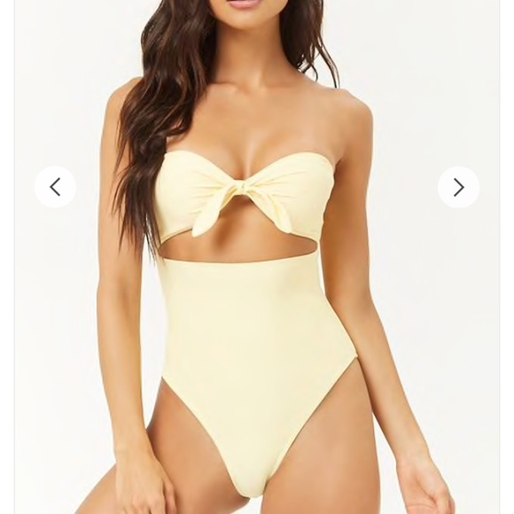 b37866fbfb515 Size small one piece strapless yellow swim! NWT. NWT. Forever 21